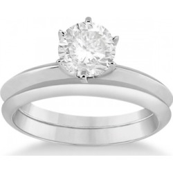 Six-Prong Knife Edge Solitaire Engagement Ring Bridal Set Platinum found on Bargain Bro from Allurez for USD $1,941.04