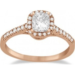Diamond Halo Square Engagement Ring 14K Rose Gold (0.26ct) found on Bargain Bro Philippines from Allurez for $852.00