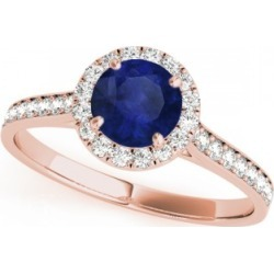 Diamond Halo Blue Sapphire Engagement Ring 18k Rose Gold (1.29ct) found on Bargain Bro Philippines from Allurez for $4260.00