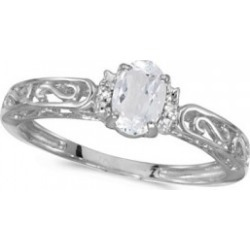 White Topaz & Diamond Filigree Antique Style Ring 14k White Gold found on Bargain Bro Philippines from Allurez for $395.00