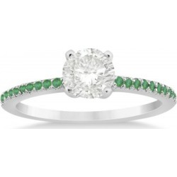 Emerald Accented Engagement Ring Setting 18k White Gold 0.18ct found on Bargain Bro India from Allurez for $845.00