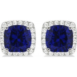 Cushion Cut Blue Sapphire & Diamond Halo Earrings 14k White Gold (1.50ct) found on Bargain Bro from Allurez for USD $2,007.92