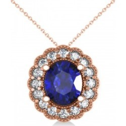 Blue Sapphire & Diamond Floral Oval Pendant 14k Rose Gold (2.98ct)