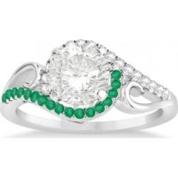 Swirl Bypass Halo Diamond Emerald Engagement Ring Platinum (0.20ct) found on Bargain Bro India from Allurez for $2049.00
