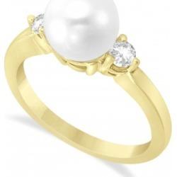 Akoya Pearl & Diamond Ring 14k Yellow Gold 0.12 ct (3.20mm)