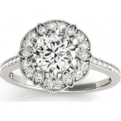 Diamond Accented Floral Halo Engagement Ring Platinum (0.23ct) found on Bargain Bro Philippines from Allurez for $2277.00