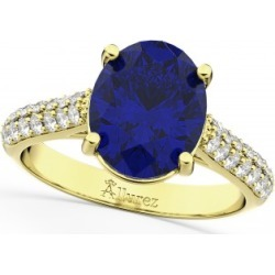 Oval Blue Sapphire & Diamond Engagement Ring 14k Yellow Gold (4.42ct) found on Bargain Bro India from Allurez for $5250.00