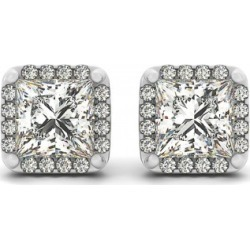 Diamond Princess-cut Square Halo Stud Earrings 14k White Gold (0.70ct) found on Bargain Bro India from Allurez for $1670.00
