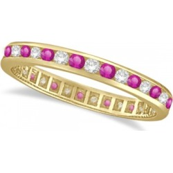 Pink Sapphire & Diamond Channel Set Eternity Band 14k Y. Gold (1.04ct) found on Bargain Bro India from Allurez for $961.00