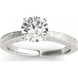Floral Solitaire Engagement Ring Platinum