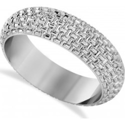 Laced Textured Men's Wedding Ring Band 14k White Gold found on MODAPINS from Allurez for USD $630.00