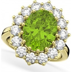 Oval Peridot & Diamond Halo Lady Di Ring 14k Yellow Gold (6.40ct) found on Bargain Bro India from Allurez for $3850.00