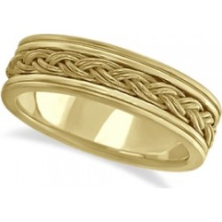 Men's Hand Braided Woven Wedding Ring 14k Yellow Gold (6mm)