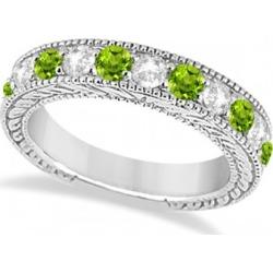 Antique Diamond & Peridot Engagement Wedding Ring Band Platinum (1.40ct)