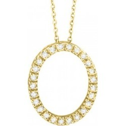 Diamond Oval Pendant Necklace 14k Yellow Gold (0.25ct) found on Bargain Bro India from Allurez for $567.00