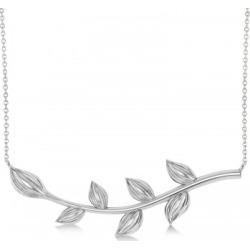 Olive Vine Leaf Necklace Plain Metal 14k White Gold found on Bargain Bro India from Allurez for $621.00
