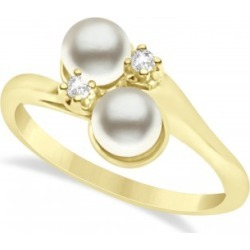 Bypass Freshwater Pearl & Diamond Ring 14k Yellow Gold (6.0mm)