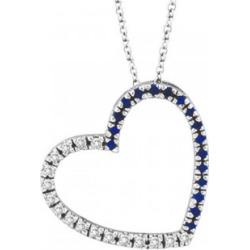 Diamond & Blue Sapphire Heart Pendant Necklace 14k White Gold (0.40ct) found on Bargain Bro from Allurez for USD $695.40