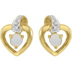 Round Opal and Diamond Heart Earrings 14 Yellow Gold (0.14ct) found on Bargain Bro from Allurez for USD $217.36
