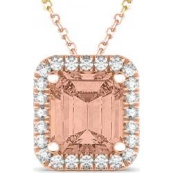 Emerald Cut Morganite & Diamonds Pendant 14k Rose Gold (3.11ct) found on Bargain Bro India from Allurez for $2031.00