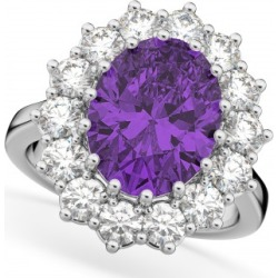 Oval Amethyst & Diamond Halo Lady Di Ring 14k White Gold (6.40ct) found on Bargain Bro India from Allurez for $4158.00