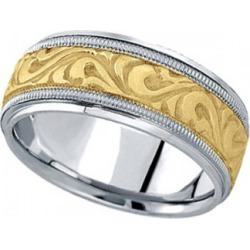 Antique Style Hand Made Wedding Band in 14k Two Tone Gold (9.5mm) found on Bargain Bro from Allurez for USD $1,245.64