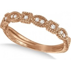 Diamond Stackable Vintage Style Ring in 14k Rose Gold (0.15ct) found on Bargain Bro from Allurez for USD $397.48