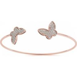 Diamond Butterfly Pave Bangle Bracelet 14k Rose Gold (0.60ct)