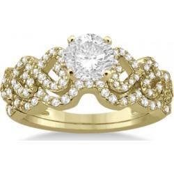 Heart Shape Diamond Engagement & Wedding Ring 18k Yellow Gold (0.50ct) found on Bargain Bro from Allurez for USD $1,950.16