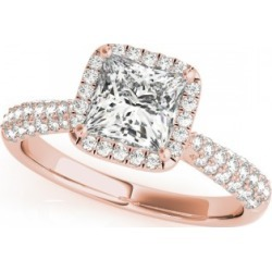 Princess-Cut Halo pave' Diamond Engagement Ring 14k Rose Gold (2.33ct) found on Bargain Bro India from Allurez for $15625.00