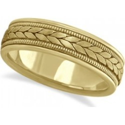 Men's Satin Finish Rope Handwoven Wedding Band 18k Yellow Gold (6mm) found on Bargain Bro from Allurez for USD $1,399.16