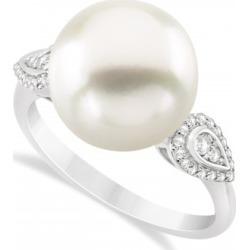 South Sea Pearl & Diamond Ring 14k White Gold (12.00mm)