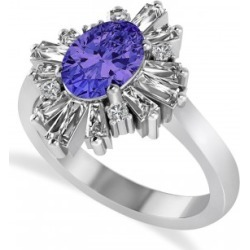 Tanzanite & Diamond Oval Cut Ballerina Engagement Ring 14k White Gold (3.06 ctw) found on Bargain Bro India from Allurez for $4825.00