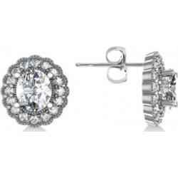 Diamond Floral Oval Halo Earrings 14k White Gold (4.96ct)