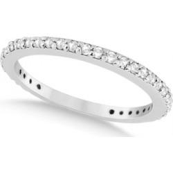 Pave Set Eternity Diamond Wedding Ring Band 14k White Gold (0.55ct)