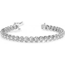 Diamond Tennis Heart Link Bracelet 14k White Gold (1.23ct)