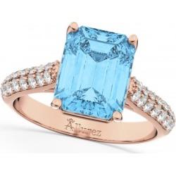 Emerald-Cut Blue Topaz & Diamond Ring 14k Rose Gold (5.54ct) found on Bargain Bro India from Allurez for $1886.00