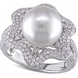 South Sea Pearl & Diamond Fashion Ring 14k White Gold 10-10.5mm 1.00ct