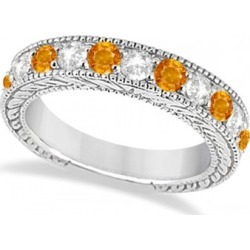 Antique Diamond & Citrine Engagement Wedding Ring Band Platinum (1.40ct)