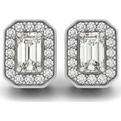 Diamond Emerald-cut Halo Stud Earrings 18k White Gold (0.90ct) found on Bargain Bro India from Allurez for $2805.00