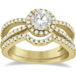 Diamond Halo Split Shank Engagement Bridal Set 14k Yellow Gold (0.67ct) found on Bargain Bro India from Allurez for $2282.00