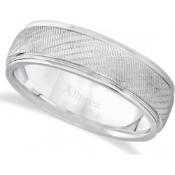 Diamond Cut Wedding Ring For Men in 14k White Gold (7mm)