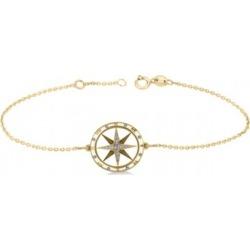 Diamond Nautical Compass Bracelet 14k Yellow Gold (0.19ct)