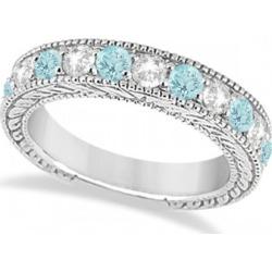 Antique Diamond & Aquamarine Engagement Wedding Ring Band Palladium (1.40ct)