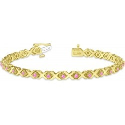 Pink Sapphire XOXO Chained Line Bracelet 14k Yellow Gold (1.50ct) found on Bargain Bro India from Allurez for $2457.00