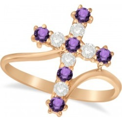 Diamond & Amethyst Religious Cross Twisted Ring 14k Rose Gold (0.51ct) found on Bargain Bro India from Allurez for $1133.00