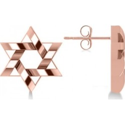 Contemporary Jewish Star of David Earrings in 14k Rose Gold