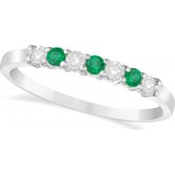 Diamond & Emerald 7 Stone Wedding Band 14k White Gold (0.26ct) found on Bargain Bro India from Allurez for $627.00