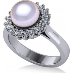 Pearl & Diamond Halo Engagement Ring 14k White Gold 8mm (0.36ct)