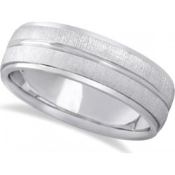 Modern Carved Wedding Band For Men in 14k White Gold (7mm)